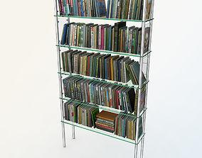 Books On Glass Bookshelf 3D