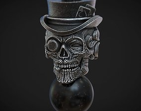 Skull beads with hat and poker cards 3d model for 3d