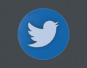 LOGO-001 Twitter 3D asset