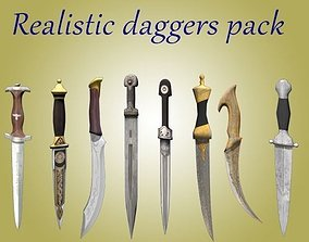 Realistic set of daggers 3D asset