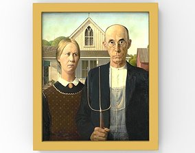 American Gothic painting by Grant Wood for 3D