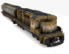 3D asset low-poly Train and Wagon