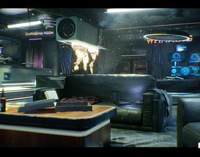 3D model CyberPunk Sci - Fi Apartment Interior Environment