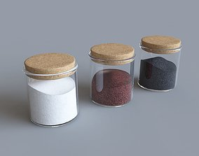 Jars with sugar coffee and tea 3D model