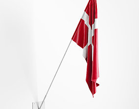 3D model Flag with wall mount