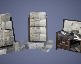 News paper Stand Set Low poly Game Ready 3D asset