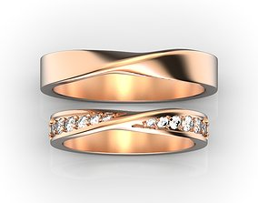 3D print model Gold wedding rings Mobius rings