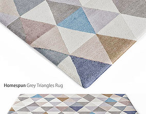 Homespun Grey Triangles Rug 3D