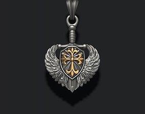 sword shield wings pendant 3D print model