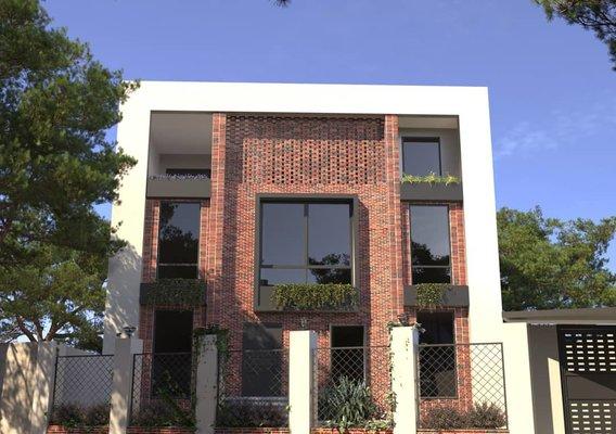 Facade design with rustic bricks