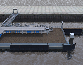 VR / AR ready Inland ferry boat station 3d model low-poly