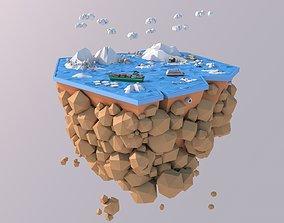 Low Poly Artic Glacier Animals Island 3D asset