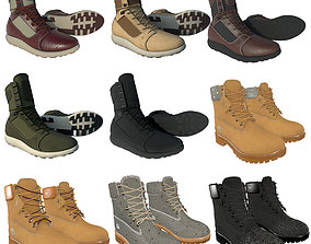 3D Timberland Boots 9 variation Low Poly Collection