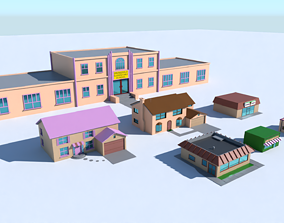 The Simpsons Springfield Buildings 3D model