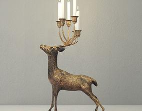 Oversize Brass Deer Candle Holder 3D