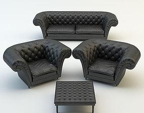 Chesterfield sofa armchair chair 3D