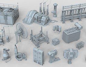 3D model Factory Units 6 - 20 pieces modular