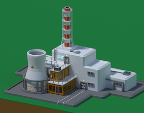 Nuclear station Low-poly 3D model