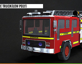 Low Poly Fire Truck 3D model VR / AR ready