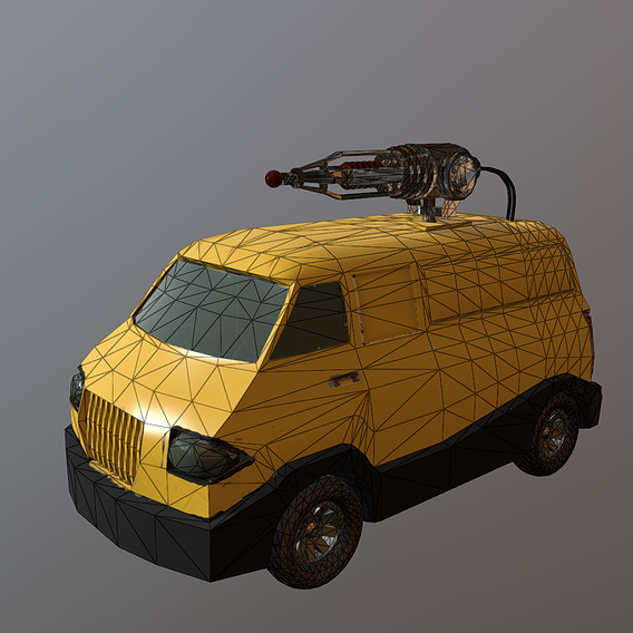 van with lasergun