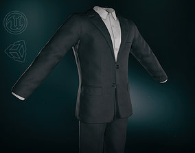 Black Suit With White Shirt 3D model game-ready