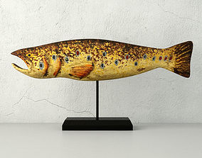 3D Hand Carved Wooden Fish 2