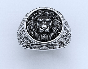 Stylish male ring with a lion 462 3D print model