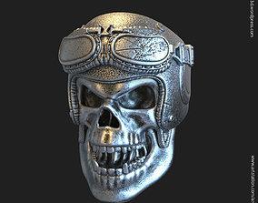 3D printable model Biker helmet skull vol4 ring silver