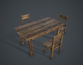 unity Table and Chairs 3D model game-ready