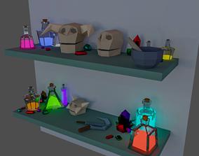 Set shaman low poly 23 items 3D model