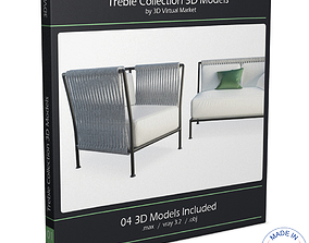 Treble Braided Outdoor Furniture 3D model