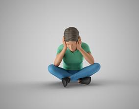 Pensive Girl 3D printable model