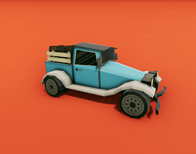 3D asset Pickup Truck with Barrels