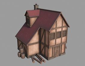 Medieval inn 3D model low-poly
