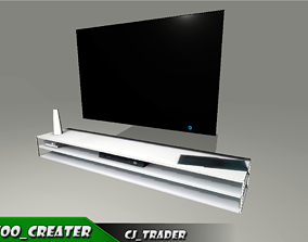 realtime desk low poly tv stand 3D model