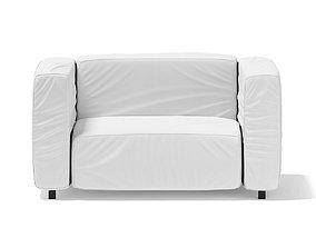 3D model wrinkled White Armchair