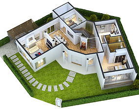 Detailed House floor 1 Cutaway 3D model
