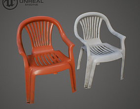 Plastic chair 3D model game-ready