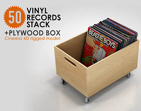 50 Vinyl Records Stack with Plywood Box 3D model
