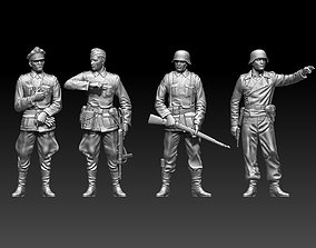 German soldiers and German officer 3D printable model