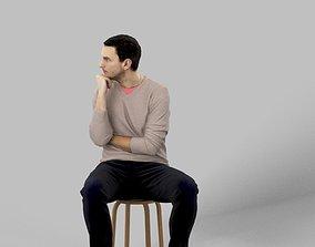 3D asset Jack Smart Casual Sitting Man Thinking