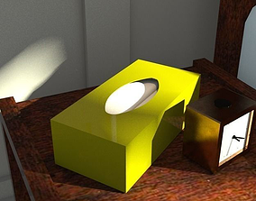 3D asset tissue box green lacquer