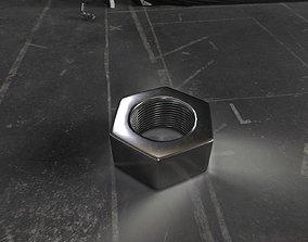 3D asset Rusty and clean steel hexagonal nut
