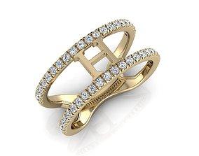 Jewelry Alphabet Ring H 3D print model 3dprint