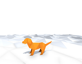 3D asset low-poly Origami Dog