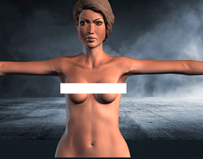 animated Naked Girl Low-poly 3D model