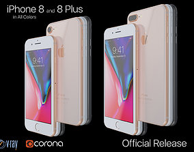 Apple iPhone 8 and 8 Plus Collection in All Color 3D model