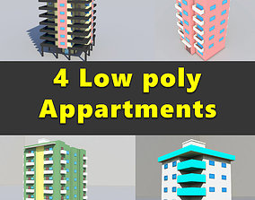 Apartment Buildings Low Poly Collection 3D model