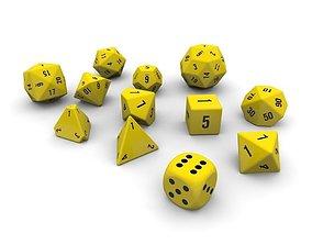 3D asset Polyhedral Dice Set - Yellow