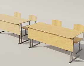 School desk and chair 3D model game-ready